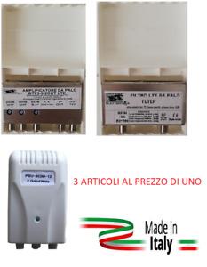 KIT AMPLIFICATORE DA PALO PER ANTENNA DIGITAL TV  CON ALIMENTATORE E FILTRO LTE