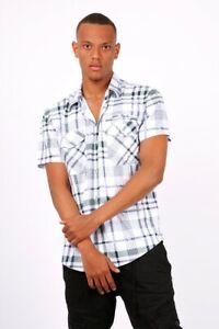 Mens Short Sleeves Check Shirts Formal Casual Smart Classic Holiday summer wear