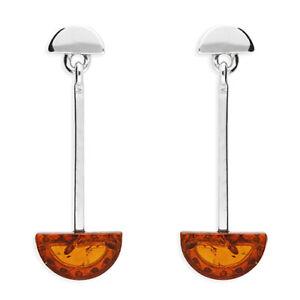 Art Deco Style 925 Sterling Silver Cabochon Cognac Amber Drop Stud Earrings