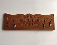 Harley Davidson Carved Engraved Wooden Coat Hat Towel Key 4Place Hanger Rack EUC