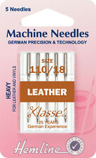 Size 110/18 Sewing Machine Needle - Klasse Leather Needles Fine - Pack 5