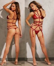 Dreamgirl Strappy Garter Play Set, Two-piece, Lace Bra & Thong, Attached Garters