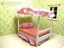 Dollhouse Miniature Bedroom Furniture Princess Canopy Double Bed & Pillows 1/12