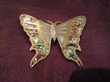 Exquisite Mother Of Pearl and brass Vintage Butterfly Brooch