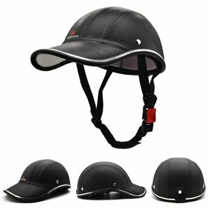 Leather Motorcycle ATV Bike Breathable Extended Half Helmet Brim Helmet