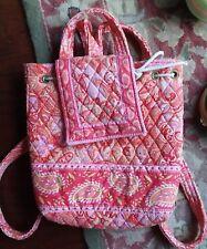 VERA BRADLEY Day Pack Drawstring Back Pack Sling Bag PINK ORANGE SHERBET RETIRED