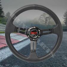 330mm Black PVC Leather Deep Dish Sport Racing Steering Wheel Fits Universal