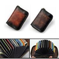 Men's Wallet Real Genuine Leather Credit Card Holder Vintage Case Accordion Bag