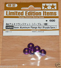 Tamiya 84085 4mm Aluminum Flange Nut (Purple/5 Pcs.) (Wheel Nuts) TT01/TT02) NIP