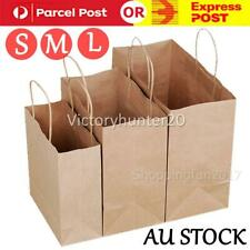 Kraft Paper Bags 50 x Bulk, Gift Shopping Carry Craft Brown Bag with Handles AU