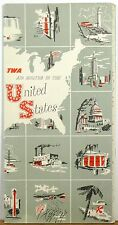 1951 TWA Trans World Airlines Air Routes Map Brochure booklet b