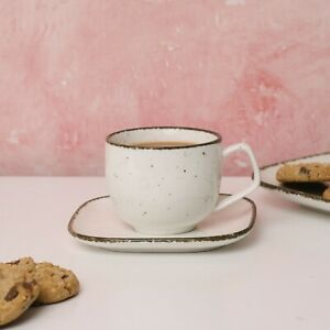 D&F Natural Cream Coffee Cup and Saucer set