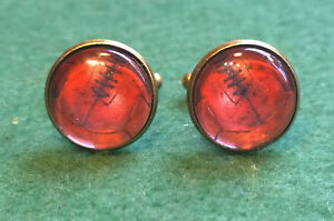 Vintage style laced football print, glass domed cufflinks, gift for him