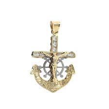 "10K Yellow 100%  Real Gold Religious Jesus Cross Anchor Pendant Charm 1.38"" 1.5g"