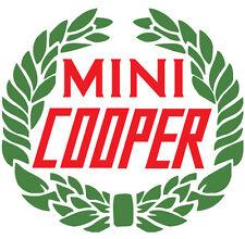 Classic British Motoring Mini Cooper with Laurel Wreath Decal Vinyl Stickers