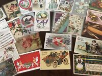 Vintage Mixed Lot of 25 Holidays & Greetings Postcards-Antique- ~in Sleeves-b31