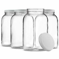 1-Gallon Glass Jar Wide Mouth with Airtight Metal Lid Clear (4 Pack)