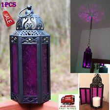 Purple Glass Lantern Hexagon Hanging Candle Holder Light Moroccan Vintage Patio