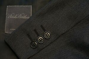 Brooks Brothers x Canali Charcoal Nailhead 100% Wool 2 Pc Suit Jacket Pants 40L