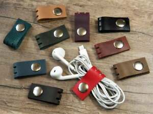 Cord organizer Cable organizer Leather Cord keeper Earphone holder Cord wrap