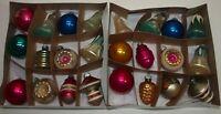Vintage Glass Xmas Ornaments Set 24 SHINY BRITE & USA Stencil Stripes UFO Solid