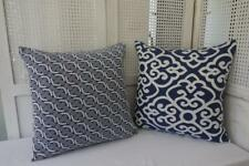 Hamptons Royal Blue Scrolls Chain Jacquard Fabric Cushion Cover 45