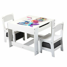 3-in-1 Kids Table and 2 Chairs Set -Children Multi-functional Activity Play Desk