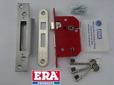 "67mm ERA FORTRESS 2.5"" 5 LEVER SASH LOCK BS BRITISH STANDARD SATIN CHROME 3 KEYS"