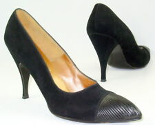 Vtg 8.5 N Black Suede Bombshell Stiletto Heels Pin Up Fluted Leather Toe Cap