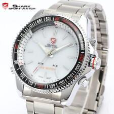 SHARK 43mm Men's LED Digital Analog Date Day Quartz Stainless Steel Wrist Watch