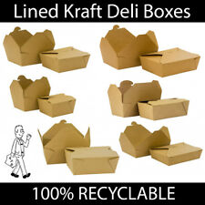 More details for brown kraft cardboard lined deli boxes food box takeaway hot cold leakproof