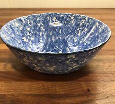 Vintage Stangl Pottery Blue & White Spongeware Bowl Pan~EXCELLENT CONDITION