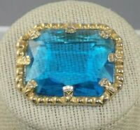 """Vintage BIG Whiting & Davis Robin Egg Blue Glass Brooch 1.75"""""""