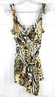 CACHE womens size S animal leopard print silk sleeveless belted blouse top