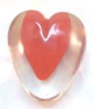 ART GLASS PAPER WEIGHT RED HEART IN GLASS HEART HEAVY UNIQUE LOVE SWEETHEART