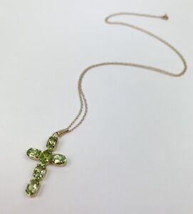 Peridot Gemstones Cross Pendant Necklace 14K Yellow Gold Jewelry