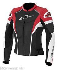 Alpinestars Stella Women/Ladies Gp Plus R Sports Leather Jacket-Red/White/Black
