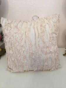 SIMPLY SHABBY CHIC PINK AND WHITE RUFFLE BALLET SLIPPER PILLOW