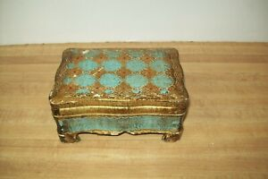 VINTAGE FLORENTINE FOOTEDTOLEWARE ITALY BOX BLUE AND GOLD HOLLYWOOD REGENCY