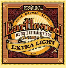 12 Ernie Ball 2006 Earthwood Bronze Extra Light Acoustic Guitar Strings 10-50