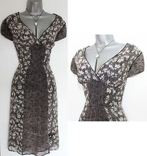 MONSOON Black Ivory Floral Print Georgette Wrap Style Day Dress UK 12 EU-40