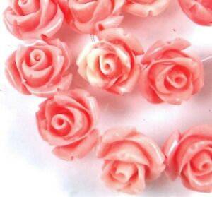10mm Pink Shell Rose Flower Beads (15)