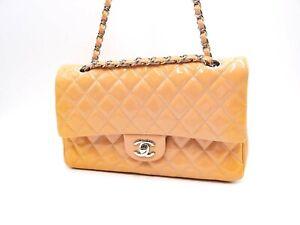 CHANEL CC Matelasse 25 W flap Chain Shoulder Bag Enamel Leather Beige Pink V7299