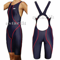 New Girls Junior Women Racing Competition Kneesuit Kneeskin Swimwear Size 22-40