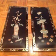 "2 Vintage Jade stone inlay Japanese laquer panel 10""x24"""