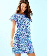 New Lilly Pulitzer Marrah Shift Dress Shirt Sleeve Royal Purple Wave L Large