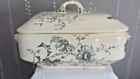 Antique LARGE French White & Blue Ceramic Large Soup Tureen 19 th