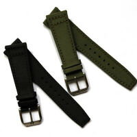 Durable Canvas Watch Strap Soft Leather-Backed Black Green