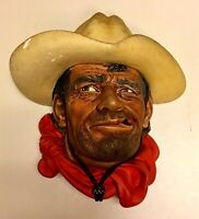 "Vintage Bossons Chalkware Head Pensive Cowboy ""Rawhide"" 1967"
