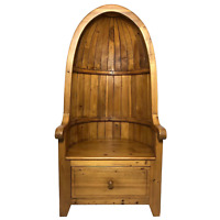 Fine English Rustic Pine Carved Porter's Entrance Armchair